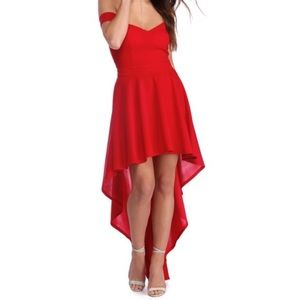 🌼Red Off the Shoulder High Low Dress